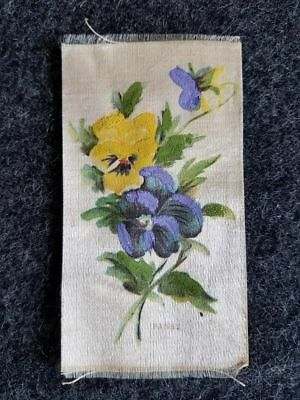 Antique hand painted PANSY VICTORIAN SILK ribbon bookmark floral 1800s Edwardian