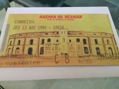 TICKET BILLET ANCIEN  corrida Béziers 1998 Club Taurin Ricard