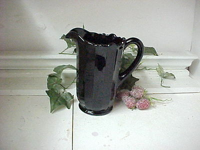 Mosser Glass Black Panel Pitcher  8 inches Tall-Raspberry