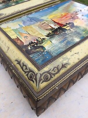Antique Large Cake Biscuit Tin Display Cafe Authentic Venice Kitchenalia