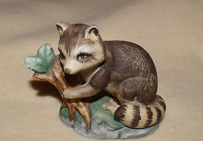 """Estate Adorable Raccoon Figurine  3"""" t x 3-1/2"""" side to side, Porcelain Bisque"""