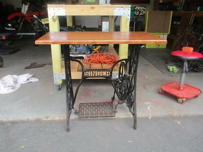 Vintage Singer Treadle Sewing Machine Cast Iron Base Wood Top Table
