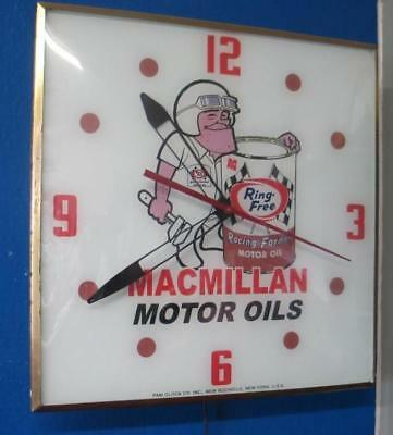 Vintage Pam Lighted Advertising MACMILLAN MOTOR OIL Clock