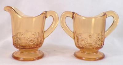 Stars & Bars Toy Sugar & Creamer Amber EAPG Bellaire Childs Antique Scarce #600
