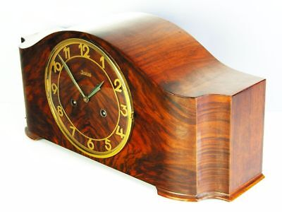 Beautiful Art Deco Design Chiming Mantel Clock From Junghans With Pendulum
