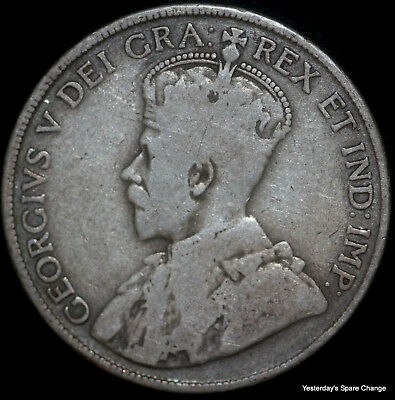 """1918 Nice Grade Canada KM-25 """"George V"""" Silver Fifty Cents!!"""