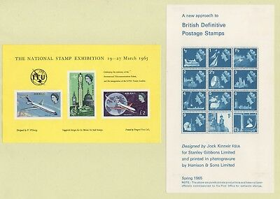 1965 UNUSUAL Souvenir Sheets NEW APPROACH TO BRITISH DEFINITIVES, Also AIR MAILS
