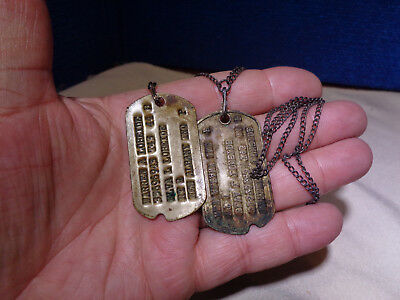 Vintage Pair Of Military Dog Tags & Chain
