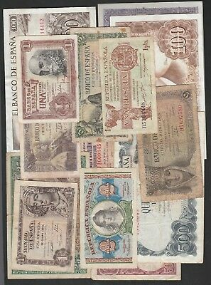 14 Pieces Of Spanish Banknotes C1