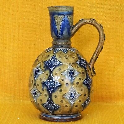 Antique DOULTON LAMBETH Art Pottery EWER JUG - Partington & Herapath, 1879