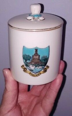 Goss Crested China * Staines (Upon Thames - Surrey) Crest * Lidded 'Bagware' Jar