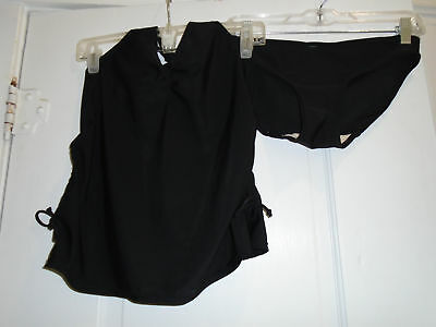2 Pc Maternity Swimsuit Old Navy Black Sz Small Halter Top/Solid Bottoms Sz XS