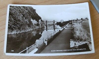 Rp Postcard Alma Bridge And River Sid, Sidmouth Posted 1956