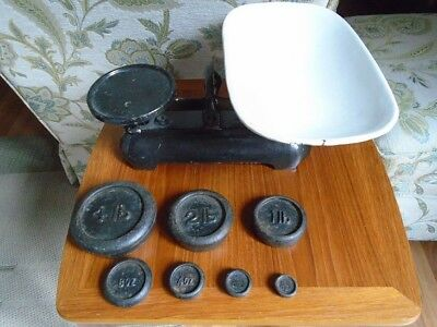 vintage scales and cast iron pound weights