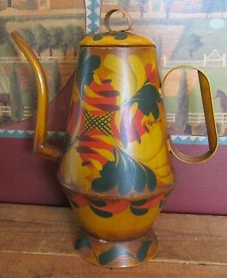 Vintage Tole Painted Metal Coffee Pot Signed