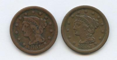 1851 & 1853 U.s. Copper Cents - Raw, Great Condition & Detailed - Vf Plus