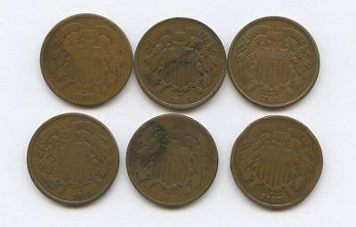 1864-1871 Six U.s. Two-Cent Coins - 1864, 1865, 1867, 1871 - Vg-F+