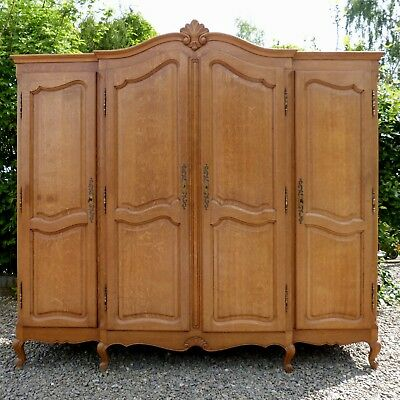 Real Quality Large Vintage French Louis XIV Solid Oak 4-Door Armoire / Wardrobe