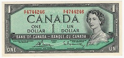 1954 Bank Of Canada One 1 Dollar Bank Note Kf 4744246 Nice Bill