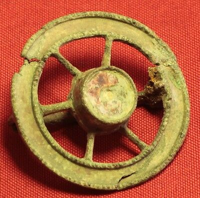 Fine Ancient Roman Wheel Enamelled Fibula or Brooch - 2. Century
