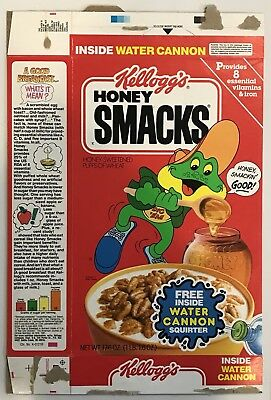 Vintage 1990 Kellogg's Honey Smacks Cereal Box,Water Cannon Squirter Offer