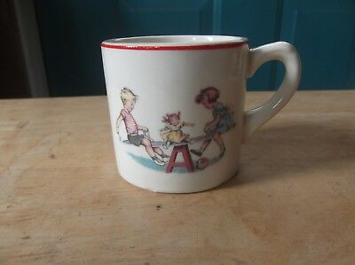 Vintage McGrath's Furniture Store Nevada, Iowa Advertising Pottery Child's Cup