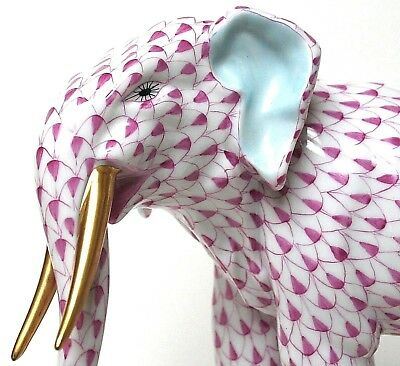 Herend Raspberry Fishnet Elephant **Colonel Hathi**! Superb!