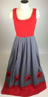 Vintage 1950s red white & blue floral housewife dress ILGWU Union Made