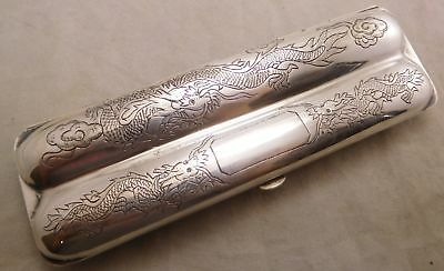 Antique Sterling Silver Japanese Chinese Export Dragon Etched Cigar Case Holder