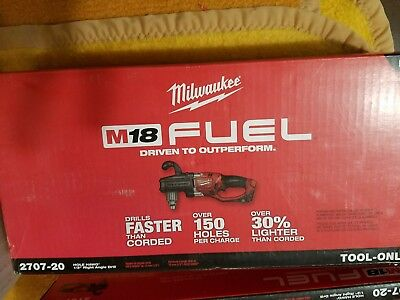 """NEW Milwaukee 2707-20 M18 FUEL 18-Volt Hole Hawg 1/2"""" Right Angle Drill"""