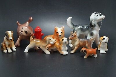 VTG Bone China Dog LOT Collie AFGHAN Borzoi SPANIEL Shepherd Fire Hydrant R
