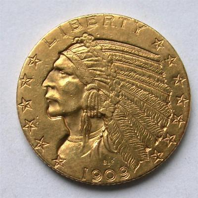 1909 D $5 Five Dollar United States Indian Head Half Eagle Gold Coin