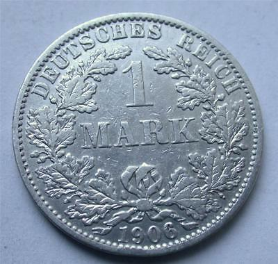 1906 A One 1 MARK German Empire Imperial Eagle Silver Coin