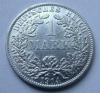 1914 A One 1 MARK German Empire Imperial Eagle Reich Silver Coin Uncirculated
