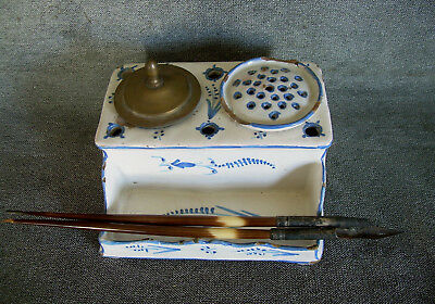 Antique 18th Century DUTCH DELFT INKWELL Pen Stand & Sterling Silver QUILL PENS