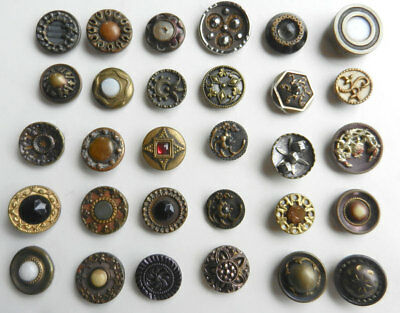 Variety Lot  of 30 Antique Victorian Fancy Metal Buttons Cut Steel & Gems