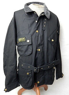 Barbour International A7 Waxed Cotton Light Motorcycle Jacket Coat Black 2XL 48