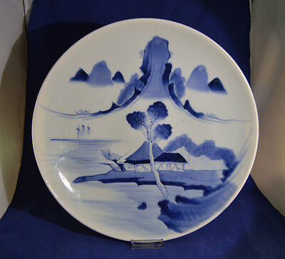Large Antique Chinese Japanese Blue & White Charger - 14 inches diameter