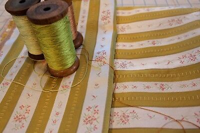 Vintage French Gold Lisere Floral Stripe Satin Brocade Jacquard Fabric 2 Pieces