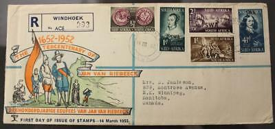 South West Africa 1952 FDC, #166-170 Set Of 5, Registered To Winnipeg
