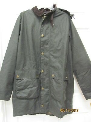 Barbour Leighton Olive Waxed Cotton Jacket with Hood Tartan Lining Men's XL