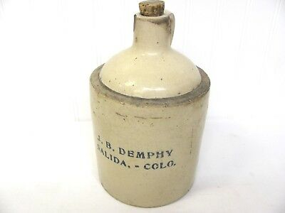 Vintage Salida COLORADO Advertising WHISKEY JUG Ad J.B. Demphy 1/2 Gal