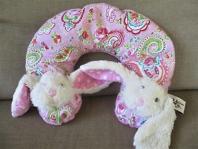 """Maison Chic BabyTravel Headrest Pillow11"""" Wide Pink Paisley /White Bunny"""