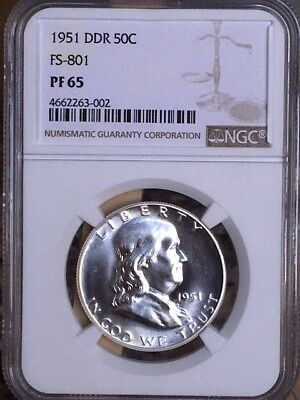 1951 Double Die Reverse Franklin Half NGC DDR FS-801 PF 65 * Awesome Variety! *