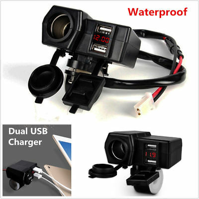 Waterproof Motorcycle 12V GPS Cigarette Lighter Dual USB Power Socket Charger