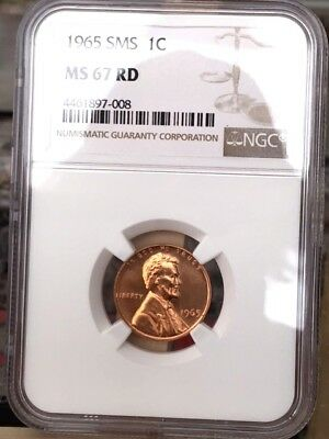 1965 Lincoln Cent NGC SMS 67 Red * Price Guide $70 - Rare!  *
