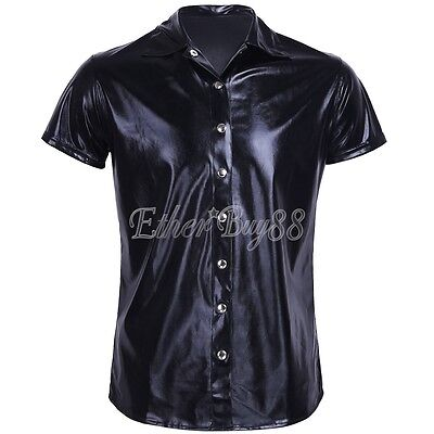 Mens Patent Leather Short Sleeves Formal Shirt Costume Clubwear Top Undershirt