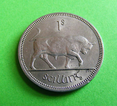 1964 Irish One Shilling Coin - High Grade With Luster - Ireland Irland Bull Harp