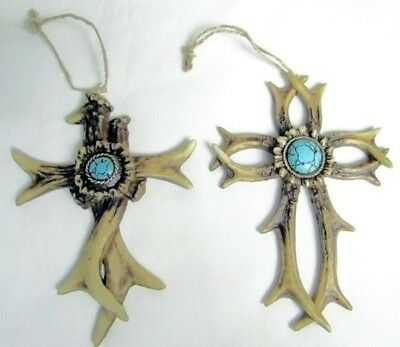 Western Crosses Christmas Ornament - Antlers/Turquoise Concho - Set of 2 (1032)