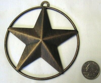 "Western Small Star Circle Christmas Ornament - Anti-copper 4"" - New"